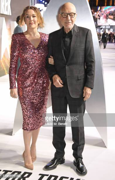 Sunny Ozell and Sir Patrick Stewart attend the European Premiere of Amazon Original Star Trek Picard at Odeon Luxe Leicester Square on January 15...