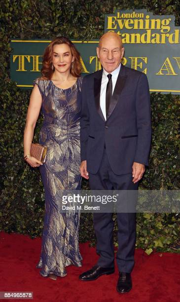 Sunny Ozell and Sir Patrick Stewart attend the London Evening Standard Theatre Awards at Theatre Royal on December 3 2017 in London England