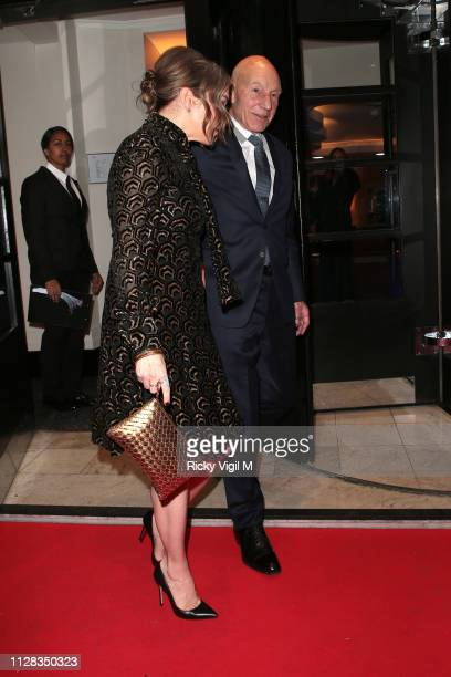 Sunny Ozell and Sir Patrick Stewart seen attending the BAFTA Film Gala at the The Savoy Hotel ahead of the EE British Academy Film Awards on February...
