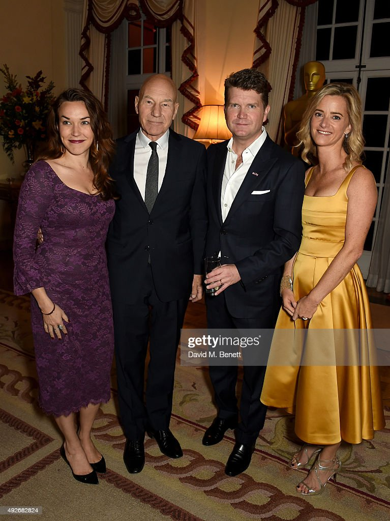 Sunny Ozell, Sir Patrick Stewart, Ambassador Matthew Barzun and Mrs Brooke Barzun attend The Academy Of Motion Pictures Arts & Sciences new members reception hosted by Ambassador Matthew Barzun and Mrs Brooke Barzun at the American Ambassadors Residence, Winfield House, Regents Park on October 14, 2015 in London, England.