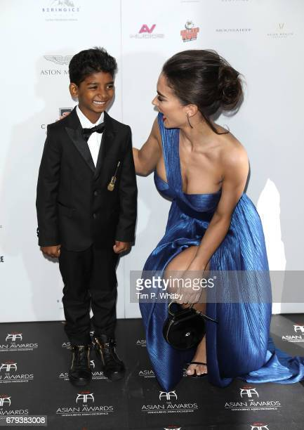 Sunny Pawar and Amy Jackson attend The Asian Awards at Hilton Park Lane on May 5 2017 in London England