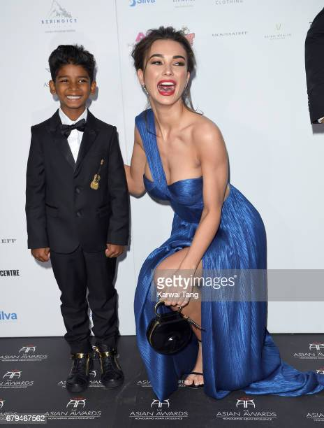 Sunny Pawar and Amy Jackson attend The Asian Awards at the Hilton Park Lane on May 5 2017 in London England