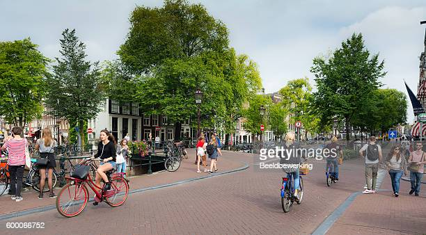 Sunny quiet morning in Amsterdam near the Rijksmuseum