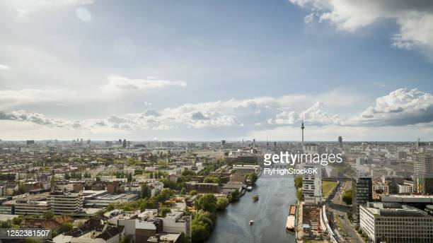 sunny, scenic berlin cityscape and spree river, germany - spree river stock pictures, royalty-free photos & images