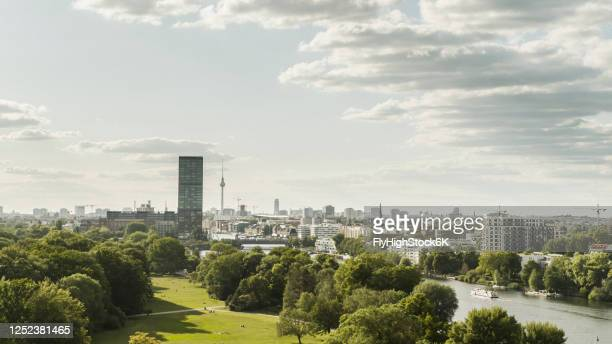 sunny, scenic view berlin cityscape, germany - berlin stock pictures, royalty-free photos & images