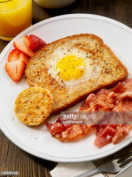 Sunny side up Egg in a hole with Bacon