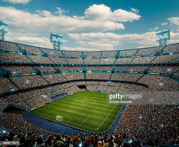 sunny soccer stadium panorama - fan enthusiast stock photos and pictures