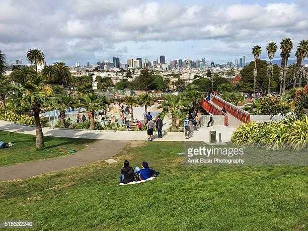 A sunny Spring day at Dolores Park, San Francisco, California