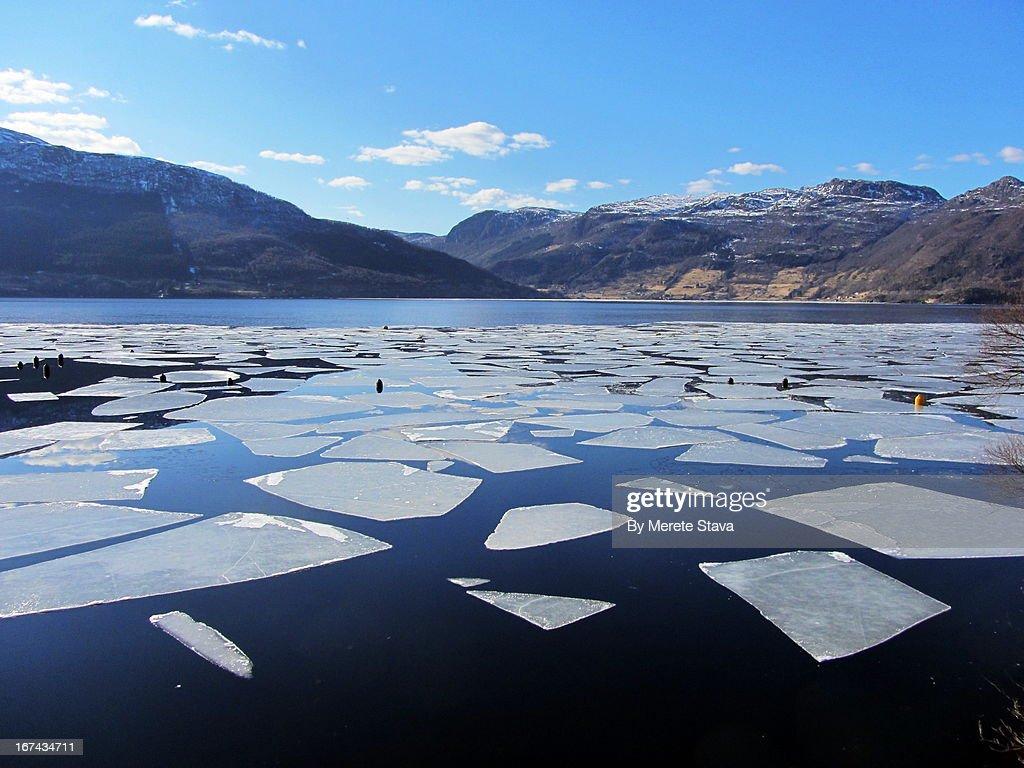 Sunny spring day by the Sandeidfjord : Foto de stock
