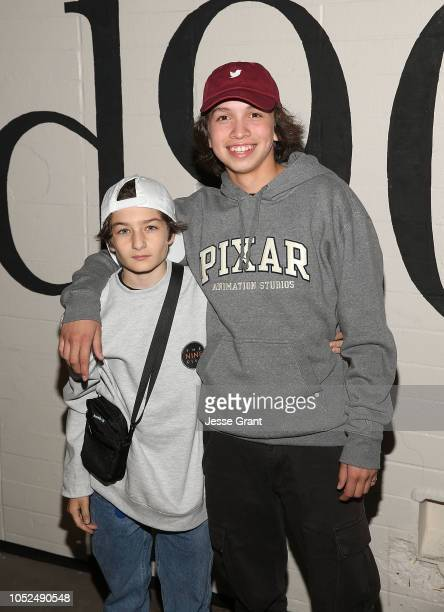Sunny Suljic and Gio Galicia attend the premiere of A24's Mid90s at West LA Courthouse on October 18 2018 in Los Angeles California