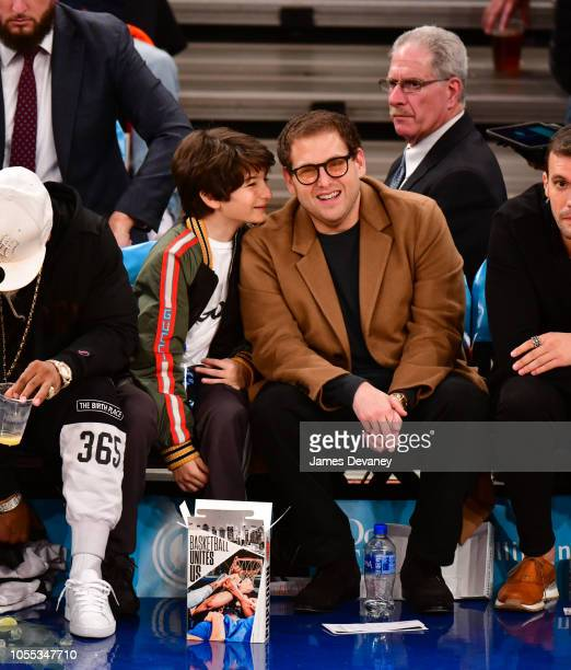 Sunny Suljic and Jonah Hill attend the Brooklyn Nets vs New York Knicks game at Madison Square Garden on October 29 2018 in New York City