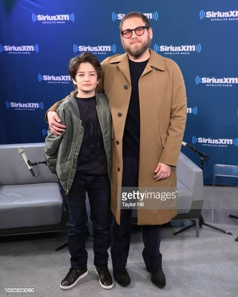 Sunny Suljic and Jonah Hill visit the SiriusXM Studios on October 23 2018 in New York City