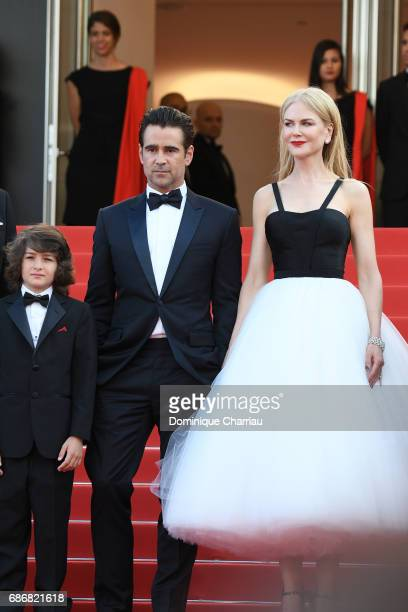 Sunny Suljic Colin Farrell and Nicole Kidman attend The Killing Of A Sacred Deer premiere during the 70th annual Cannes Film Festival at Palais des...