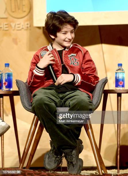 Sunny Suljic speaks onstage at GQ Live The World Of Jonah Hill With The Cast Of 'Mid90s' at NeueHouse Los Angeles on December 07 2018 in Hollywood...