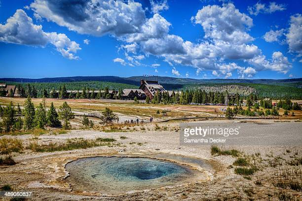 Sunny summer day at the Upper Geyser Basin at Yellowstone National Park, Wyoming.