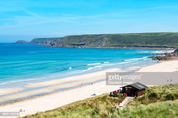 Sunny Summer Day On The White Sandy Beach At Sennen Cove In Cornwall England Britain Uk