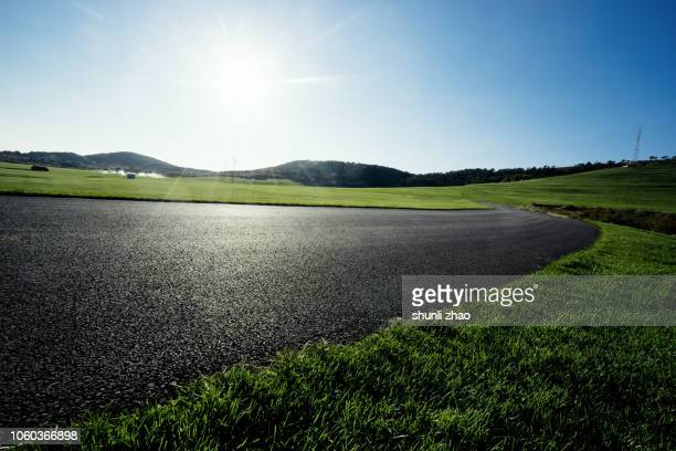 sunny summer landscape - paved driveway stock pictures, royalty-free photos & images