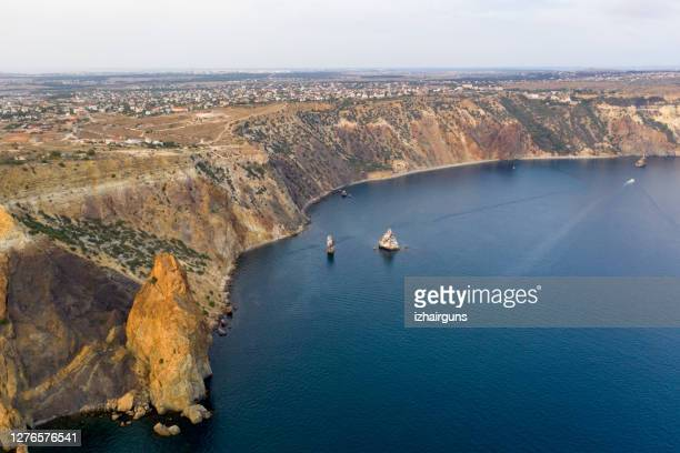 sunny summer morning. crimea. nice sea landscape - crimea stock pictures, royalty-free photos & images
