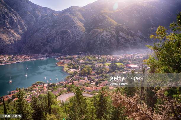 sunny summer. urban cityscape. famous landmark of bokot bay - kotor bay stock pictures, royalty-free photos & images