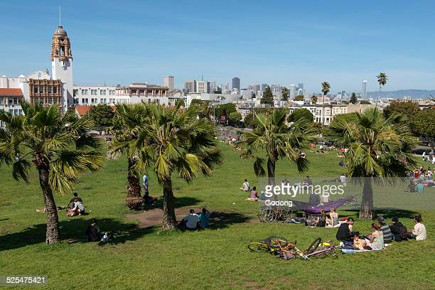 Sunny sunday Dolores Park in Mission District San Francisco