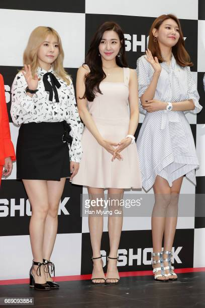 Sunny, Tiffany and Sooyoung of South Korean girl group Girls' Generation attend the photocall for CASIO 'G-SHOCK' at the Starfield Hanam on April 16,...