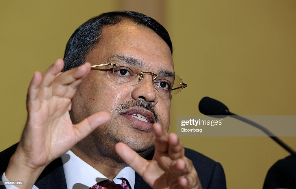 Sunny Verghese, group managing director and chief executive officer of Olam International Ltd., gestures during a news conference in Singapore, on Thursday, Feb. 7, 2013. Olam International Ltd., the commodity trader targeted by short-seller Carson Block, reported the highest quarterly profit since 2010 and said it's reviewing operations including spending plans. Photographer: Munshi Ahmed/Bloomberg via Getty Images