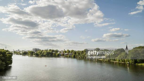 sunny view spree river, berlin, germany - spree river stock pictures, royalty-free photos & images
