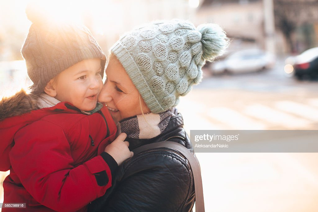 Sunny, winter day in the city : Stock Photo