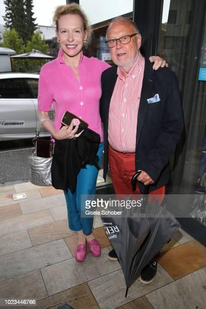 Sunnyi Melles and Joseph Vilsmaier during the closing ceremony of the Kitzbuehel Film Festival on August 25, 2018 in Kitzbuehel, Austria.