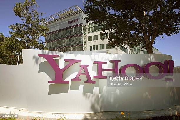 The entrance of Yahoo headquarters in Sunnyvale California is seen in this 20 August 2005 photo Internet portal Yahoo and online auction giant eBay...