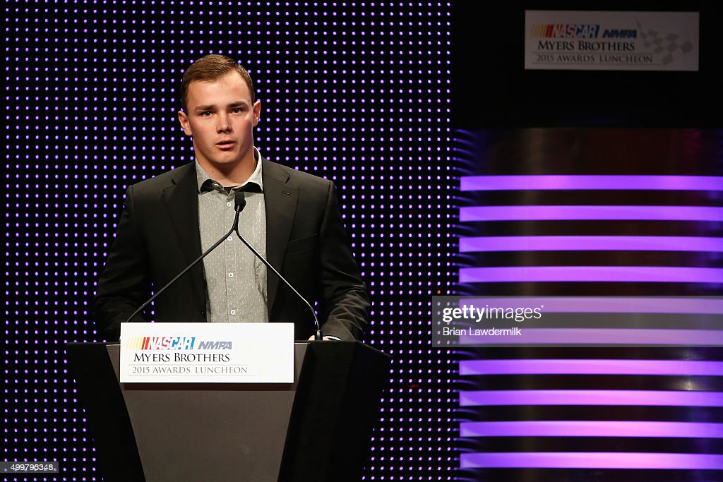 Sunoco Rookie of the Year Award recipient Brett Moffitt speaks during the 2015 NASCAR NMPA Myers Brothers Awards Luncheon at Encore Las Vegas on December 3, 2015 in Las Vegas, Nevada.