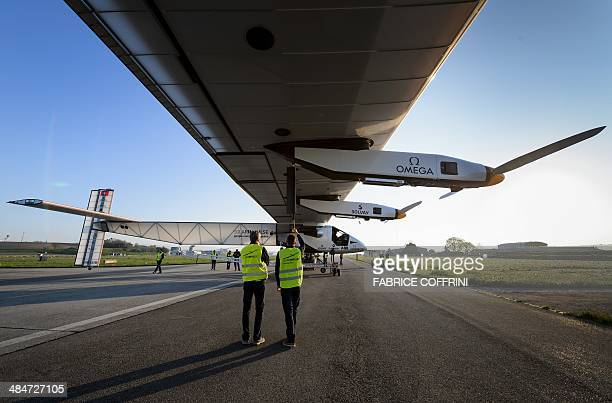 Sunpowered plane Solar Impulse 2 HBSIB is seen during its first exit for test on April 14 2014 in Payerne a year ahead of their planned roundtheworld...
