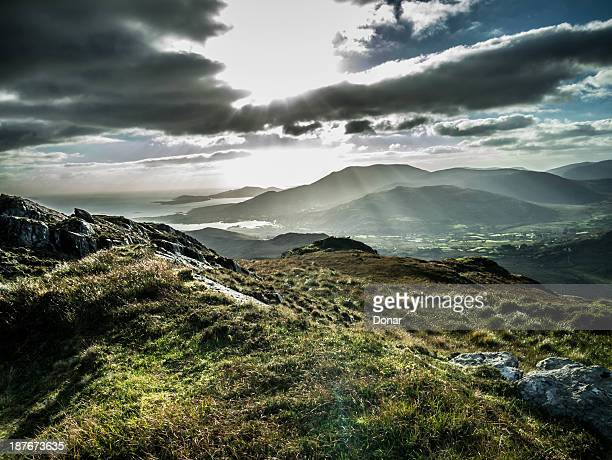 sunrays on adrigole - county cork stock pictures, royalty-free photos & images