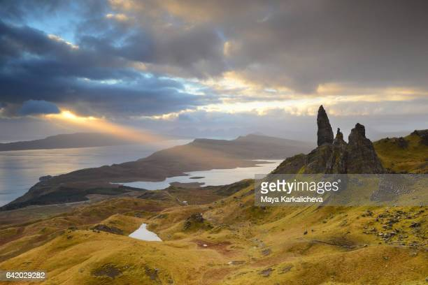 Sunrays over The Old Man of Storr