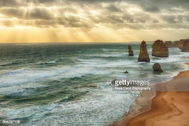 Sunrays over Twelve Apostles during Sunset