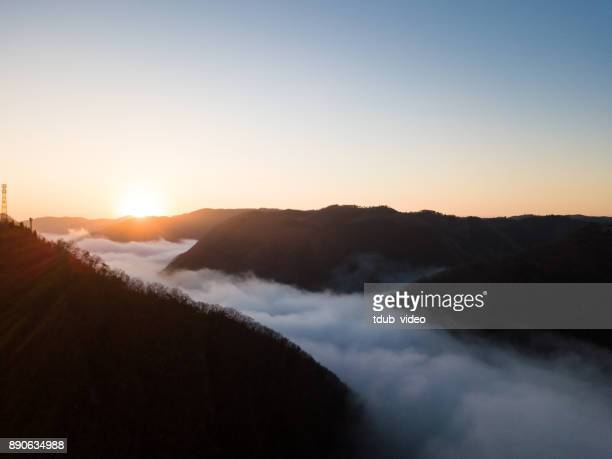 Sunrise above the clouds in the mountains of Japan
