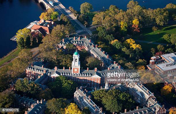 Sunrise Aerials Of Eliot House Clock Tower, Harvard, New England