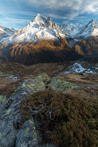Sunrise after bivouac in the Cheserys lake behind Chamonix - gettyimageskorea