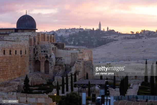 sunrise, al aqsa mosque, chapel of the ascension, mount of olives, jerusalem, israel - mount of olives stock pictures, royalty-free photos & images