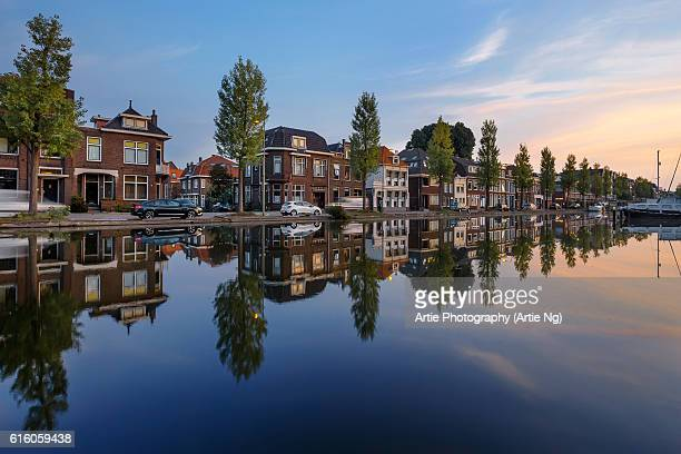Sunrise Along the Kattensingel Canal, Gouda, South Holland, Netherlands