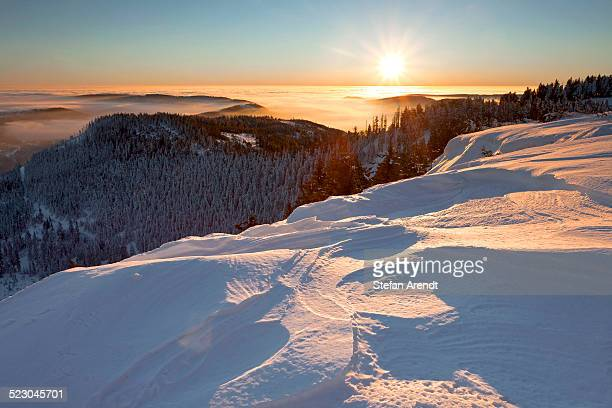 Sunrise and a snow edge, Hornisgrinde, Black Forest, Baden-Wuerttemberg, Germany, Europe