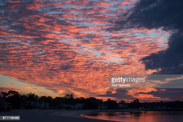 sunrise and clouds. - westport connecticut stock photos and pictures