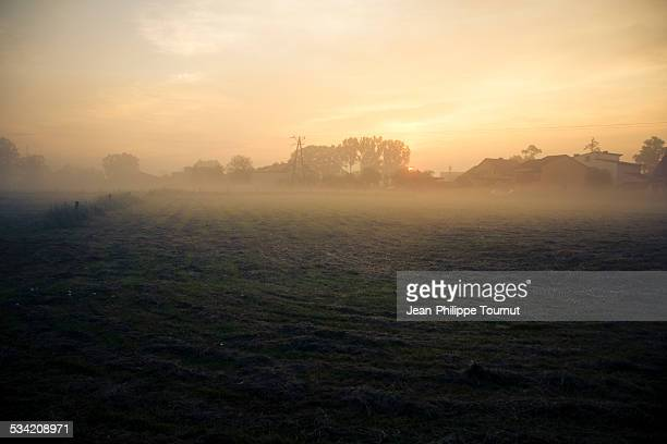 Sunrise and fog in in the rural south of Poland