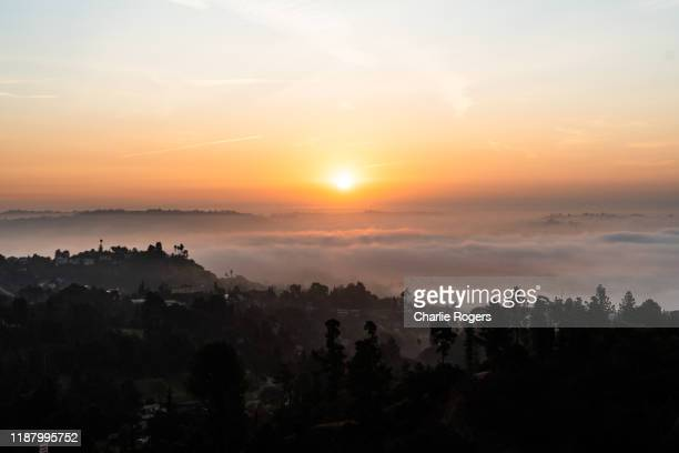 sunrise and fog over the hollywood hills, la - hollywood hills stock pictures, royalty-free photos & images