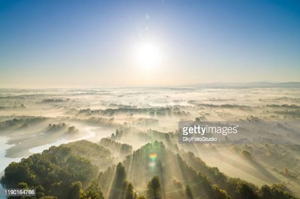 sunrise and fog - polen stock-fotos und bilder