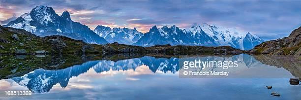 Sunrise and lake reflection of Mont-Blanc