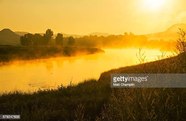 Sunrise and Mist on the Missouri River
