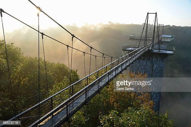 sunrise and mist on viaduc de la souleuvre - viaduct stock pictures, royalty-free photos & images