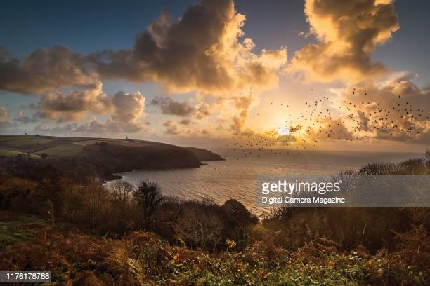 Sunrise around Gallants Bower on the south Devonshire coast in England on October 12 2018