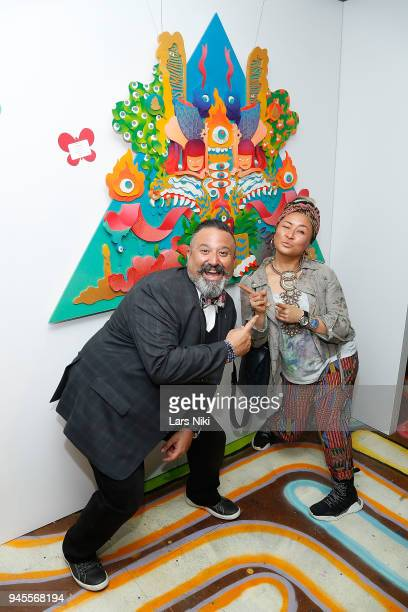 Sunrise Association board member David Miller and artist Riiisa Boogie attend the Sold Out Art Auction To Benefit Camp For Children With Cancer on...
